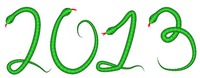 Four snakes making 2013 caption. Four green snakes making 2013 caption, new year card,  illustration Stock Photo