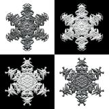 Four snowflakes on black and white backround Royalty Free Stock Images