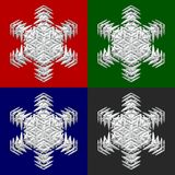 Four snowflakes on colored backround Royalty Free Stock Photos