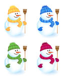 Four snowman. Four cheerful snowmen with colorful hats Stock Images