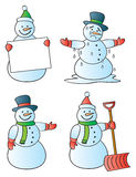 Four Snowmen. Four winter snowmen in various poses Stock Photography