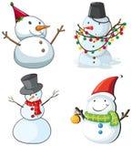 Four snowmen. Illustration of the four snowmen on a white background Stock Photos