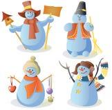 Four Snowmen In Children Style Stock Photo