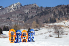 Four SNOWSHOES for excursions on the snow Stock Photography