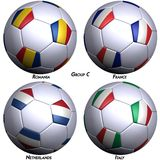 Four soccer-balls with flags Royalty Free Stock Photos