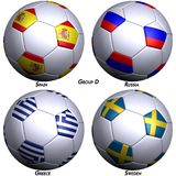 Four soccer-balls with flags Stock Photography