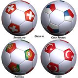 Four soccer-balls with flags stock photos