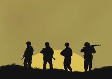 Four soldiers . Four soldiers on a background a sun Royalty Free Stock Images