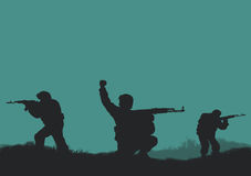 Four soldiers. On a background a sun Stock Images