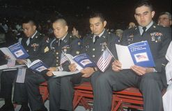 Four Soldiers at Citizenship Ceremony, Los Angeles, California Royalty Free Stock Images