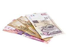 Four South African Bank Notes in Fifties and Twenties Stock Photos