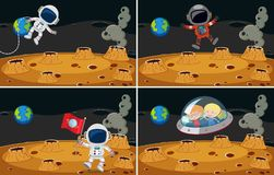 Four space scenes with astronauts flying Royalty Free Stock Photos