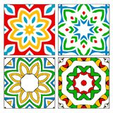 Four spanish tile patterns. Four different Spanish / Moorish style ceramic tile patterns found in Andalucia, Madrid and other parts of Spain Royalty Free Stock Photo
