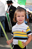 Four Species Market for Jewish Holiday of Sukkot. ASHDOD - OCTOBER 12 : Jewish ultra-orthodox child holds Etrog and Lulav at a four species market for the Jewish Royalty Free Stock Photography