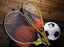 Four Sport, a lot of balls and stuff Royalty Free Stock Photography