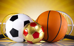Four Sport, a lot of balls and stuff Stock Photo