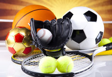Four Sport, a lot of balls and stuff Royalty Free Stock Images
