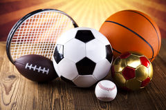 Four Sport, a lot of balls and stuff Royalty Free Stock Image