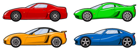 Four Sports Cars. Four Different Sports Cars with Alloy Wheels - Red, Green, Yellow & Blue Stock Photos