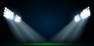 Four spotlights on a football field stock illustration