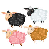 Four spotted cartoon sheep, vector animals Stock Images