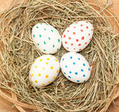 Four spotted colored easter eggs in hay Stock Photos