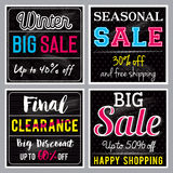 Four Square black banners with sale offer, vector Stock Image