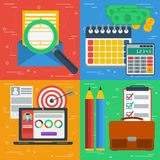 Four square business flat concepts. Vector square four business concept. Search e-mailing, design planning, finance and budget and internet managment. Flat style Royalty Free Stock Photography
