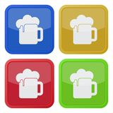 Four square color icons, beer with foam stock illustration
