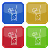 Four square color icons, carbonated drink, citrus Stock Photography