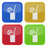 Four square color icons, carbonated drink, citrus Royalty Free Stock Photos
