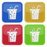 Four square color icons, fast food drink and straw Stock Photo