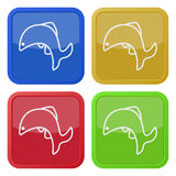 Four square color icons, jumping fish, dolphin. Set of four square colored buttons and icons, jumping fish, dolphin Stock Photo