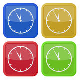 Four square color icons, last minute clock Stock Images