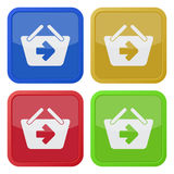 Four square color icons, shopping basket next vector illustration