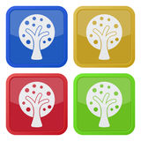 Four square color icons, tree with branches Royalty Free Stock Images