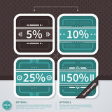 Four square discount price tags in retro style. EPS10. Stock Photo