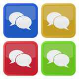 Four square icons with speech bubbles Royalty Free Stock Photos