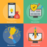 Four square success concepts. Vector four square success concept. Monetization idea, effective startup, data protection and way to success in flat style. Banners Stock Photo