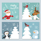 Four square templates with Christmas characters. Royalty Free Stock Images