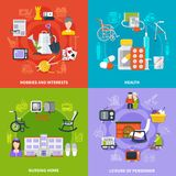 Pensioner Icon Set. Four squares flat pensioner icon set with hobbies and interests health nursing home and leisure of pensioner descriptions vector illustration Stock Image