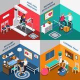 Physiotherapy Rehabilitation Isometric Set Royalty Free Stock Images