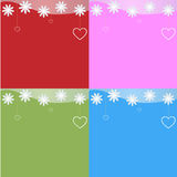 Four St Valentine's background. A set of four valentine's background with flowers and hanging hearts,usefuls also as greeting card.EPS file available Stock Photo