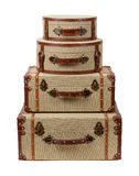 Four Stacked Deco Burlap Suitcases Stock Images