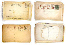 Four Stacks of Blank, Vintage Postcards Stock Photos
