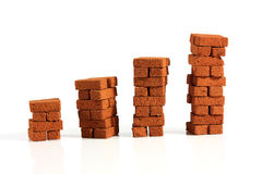 Four stacks bricks. Four stacks of bricks isolated on white background stock photos