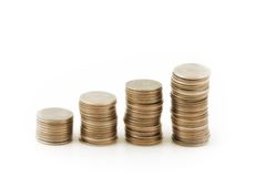 Four Stacks of coins Stock Image