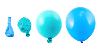 Four stages of balloon inflation isolated Stock Images