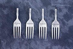 Four stainless steel tops of forks Royalty Free Stock Image