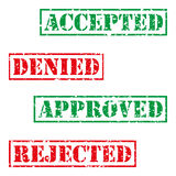 Four stamp with grunge. Accepted, denied, aproved, rejected Stock Images